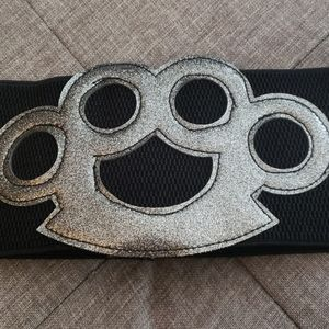 Brass Knuckles Glitter Stretch Belt